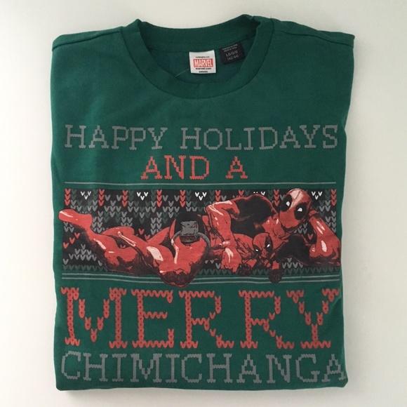 16836eea2 Marvel Shirts   Deadpool Merry Chimichanga Christmas Sweatshirt ...